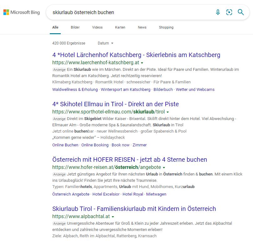Screenshot: Suchergebnisse in Bing - eMagnetix